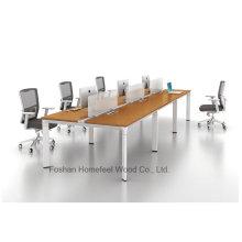 Mobilier de bureau moderne Bureau de travail droit à 6 personnes (HF-YZK023)