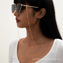 European and American Gold Silver Fashion Jewellery Hip Hop Ins Round Beads Thin Chain Hanging Neck Rope Reading Glasses Sunglasses Chain Glasses Chain Women