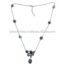 Labradorite And Multi Gemstone 925 Sterling Silver Necklace jewelry