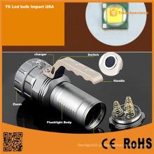 Alumínio T6 LED recarregável poderosa lanterna tocha
