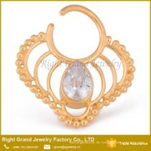 Oval Crystal Tear Drop vergoldet biegsamen Septum Ring