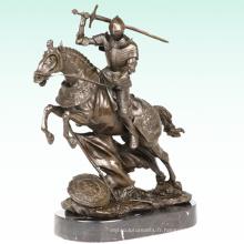 Chevalier Médiéval Métal Déco Soldat Bronze Sculpture Statue Tpy-454