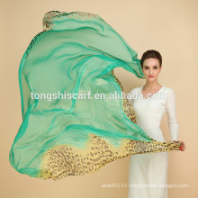 women long silk chiffon scarf printed on silk fabric