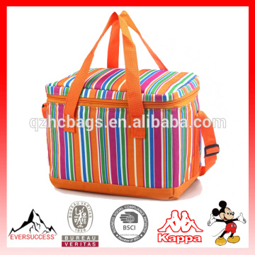 600D Cooler Stripe Cooler Tote Zipper Bag, Lunch Picnic Bag Outdoor Events, Fishing,Camping Trips