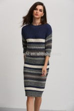 clothing factory 2016 winter latest stripe pullover long knitted dress sweater designs for women