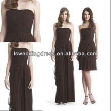 HC2289 Marrom sem alças sem costura de chiffon A linha de zíper assimétrico zipper volta barato saia removível vestidos de baile