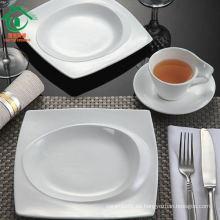 Venta al por mayor de porcelana blanca conjunto de vajilla, cerámica blanca para el restaurante