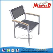 Chaise en aluminium extérieure empilable de tissu de maille