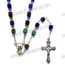 Cuentas de la cadena católica del rosario, joyería del rosario, rosario religioso del cristal de plata