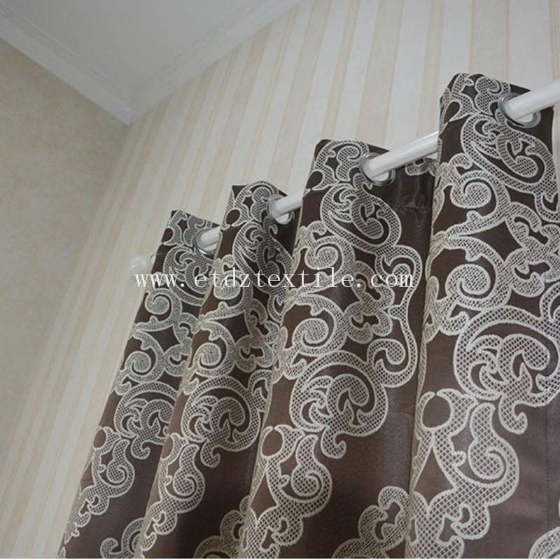 Polyester Embroidery Like Jacquard Curtain Chocolate