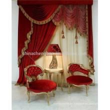 Cortinas de lujo clásicas de la venta caliente valances cortina eléctrica de la etapa