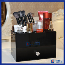 Tabletop Makeup Brush Holder Acrylic Cosmetic Organizer with Drawers