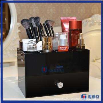 Tabletop Maquillaje cepillo titular acrílico cosméticos organizador con cajones
