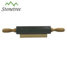 Nouveau rouleau à pâtisserie en granit noir naturel avec poignée en bois