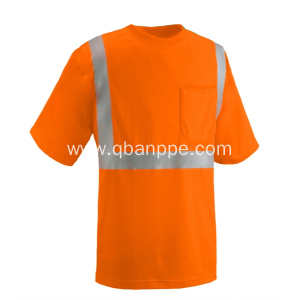 orange pocket tshirt high visibiliti reflective tape