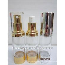 Round blue PETG cosméticos Embalagem plástico pequeno 1oz garrafas de bomba sem ar