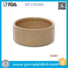 Bol de chien en céramique Handamde portatif chinois de forme ronde