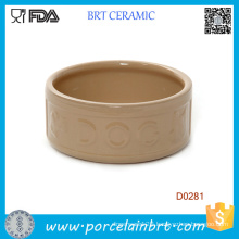 Round Shape Portable Chinese Handamde Ceramic Dog Bowl