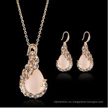 Sistemas de la joyería del pavo real de las mujeres Joyas oro