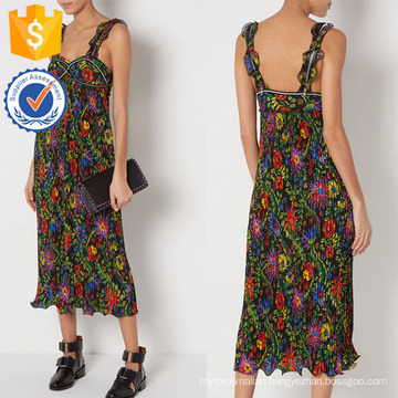 New Fashion Multi Floral Strap Pleated Maxi Dress Manufacture Wholesale Fashion Women Apparel (TA5306D)
