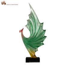 Decoración moderna decoración personalizada de resina transparente estatua de phoenix para regalo