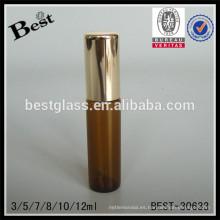3/5/7/8/10 / 12ml rodillo liso en botellas con rodillo de acero, botella de aceite esencial de vidrio con tapa, proveedor de botella de vidrio de tubo de ámbar