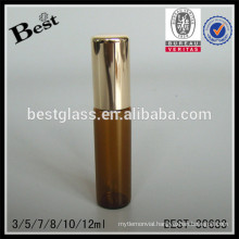 3/5/7/8/10/12ml plain roll on bottles with steel roller, glass essential oil bottle with cap, amber tube glass bottle supplier