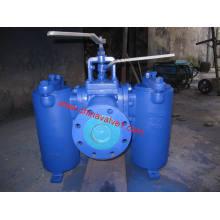 Filtro de canasta / cucharón dúplex conectado con válvula de tapón con brida (GSVS20)