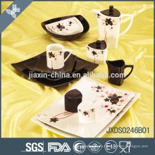 Квадратный черный элегантный дизайн керамический ужин устанавливает кленовый лист фарфора посуда