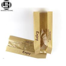Коричневый крафт бумажные пакеты для хлеба для хранения с окном