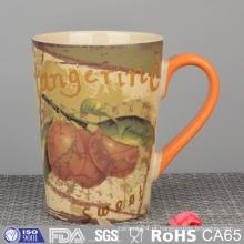 Caneca de café colorida personalizada da faiança do decalque