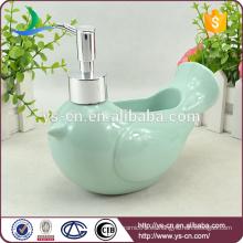 Pájaro azul de cerámica al por mayor del dispensador del jabón del baño de la paz