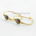 Boucles d'oreilles en argent sterling 925, Boucles d'oreille en or blanc 18k en pierre gemme fumée pour femmes