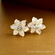 Yiwu Jewelry Manufacturer маленький цветок оболочки Таиланд стерлингового серебра 925 серьги стержень