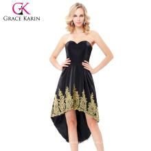 Grace Karin Strapless Sweetheart Alta-Baja Flannelette Appliqued Negro vestido de fiesta Homecoming vestido GK000136-1