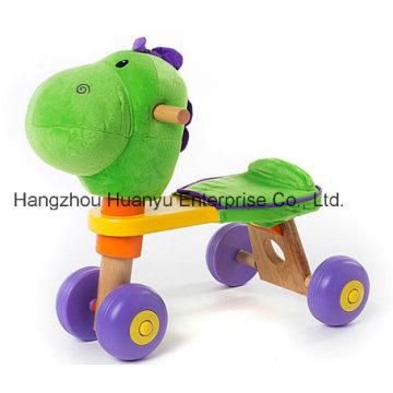 Bicicleta de madeira de alta qualidade do bebê com cabeça do dinossauro