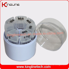 Any Color Plastic Cylindrical Weekly Pill Box (KL-9037)
