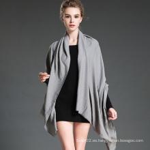 Las mujeres en invierno para mantener cálido liso bufanda de poliéster gris mantón