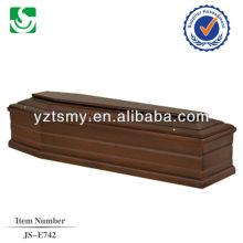 Barato simple ataúd de madera con decoración de raso