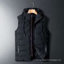 Winter Sleeveless Jacket Down Vest Men′s Warm Thick Hooded Coats