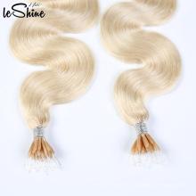 Double Srawn Bâton En Plastique Cheveux Humains En Gros Nano Tip Extensions De Cheveux