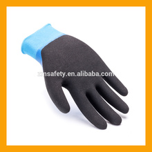 ZMSAFETY 13G Knitted Liner Latex Coated Latex Safety Gloves Black Sandy Finish Double Latex Dipped Gloves