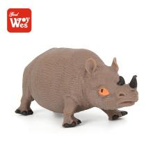 Brinquedos educativos modelo de rinoceronte animal de brinquedo de borracha tpr para crianças