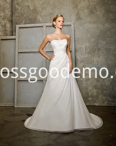 Empire A Line Scoop Neck Cathedral Train Chiffon Ruffled Wedding Dress