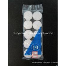 Bougie de photophore non parfumée blanche du prix bon marché 10PCS dans l'emballage de poly-sac