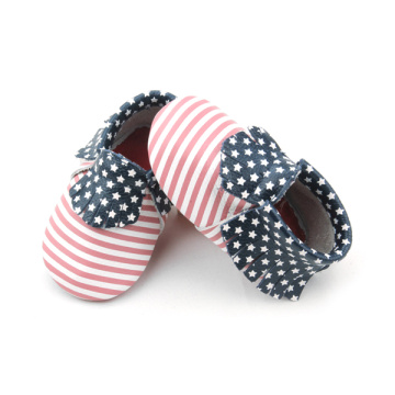Stars and Stripes Leren Mocassins Babyschoenen