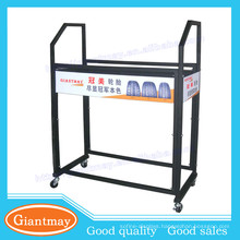 Warehouse assorted stabls metal stand display storage car tires for shop with wheels