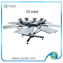 Manual 10 color hand screen printing machine