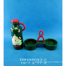 Hand-Painted Ceramic Oil & Vinegar Bottles with Stand