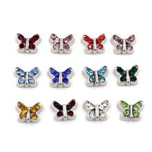 Papillon mignon avec des pierres de naissance Pendentifs flottants pour Locket en verre